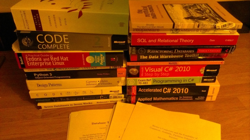 (Picture of lots of technical books)
